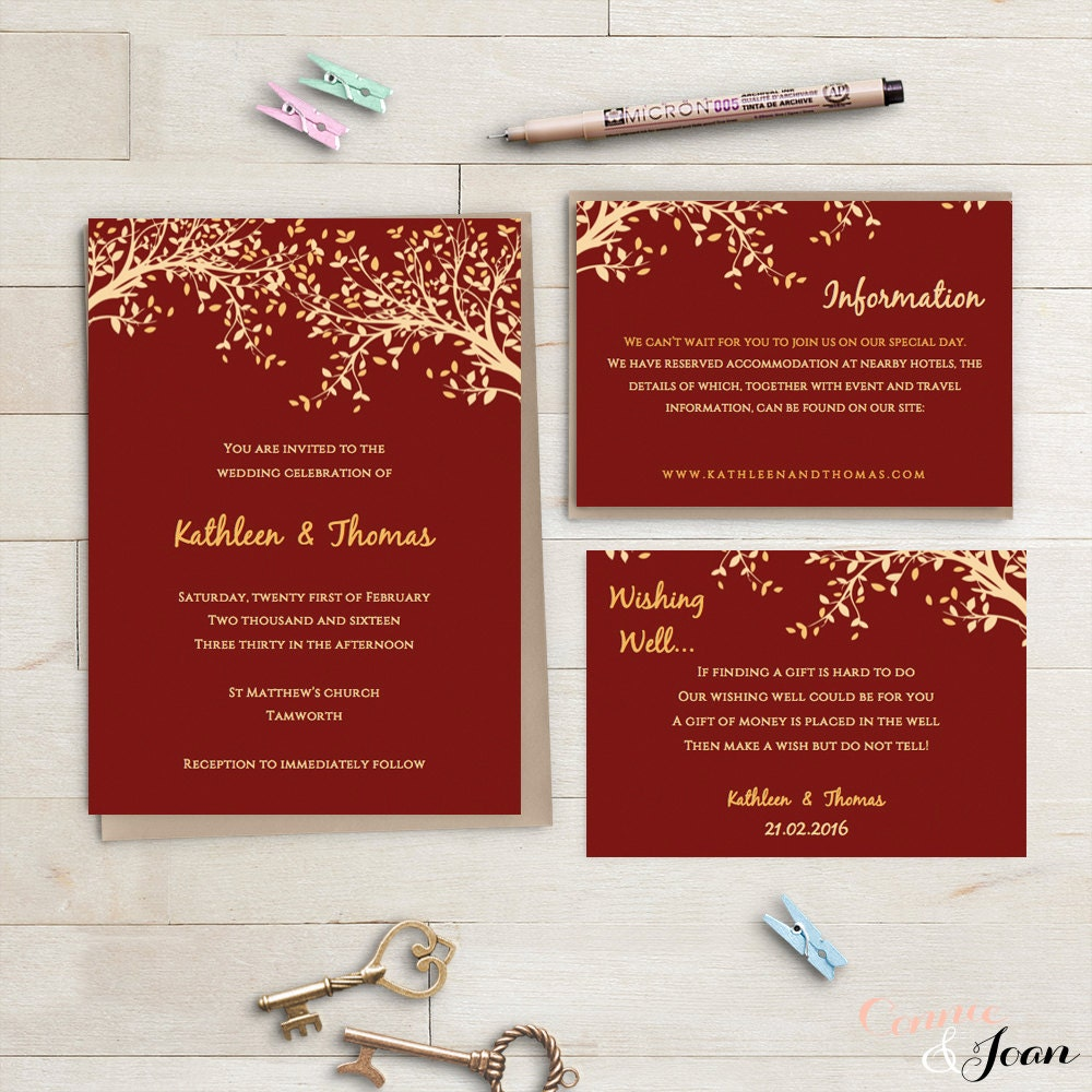 Printable Wedding Invitations Gold