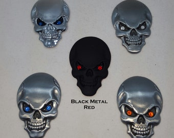 Small Metal Skull 3D decal for Car SUV Truck Interior or Exterior blinged car or bike accessories Swarovski crystal eyes Biker Rocker Goth