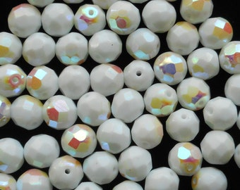 25 8mm Czech glass beads, Opaque White AB firepolished, faceted round beads C40125