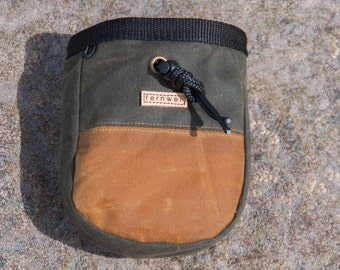 Waxed Canvas Chalk Bag, Olive & Tan, Fernweh UK, waxed cotton chalk bag, chalk pot, bouldering, rock climbing
