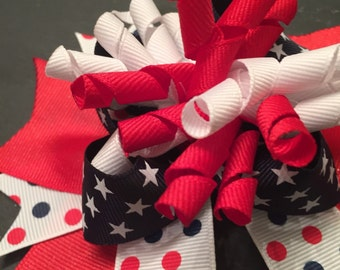 4th of July Hair Bow, Patriotic Hair Bow, Red/White/Blue Hair Bow, Burst Bow, Independence Day Bow