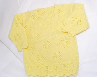 hand knitted girl jumper fit 2-3 years old