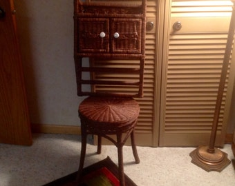 Brown Wicker Stool with Matching Wicker Towel Holder Cabinet Bathroom Decor White Knobs