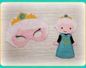 Frozen Princess Mask and Felt Non Paper Doll Set  Pretend Fancy Dress Up Play  Elsa  Party Celebration Halloween Favor Gift