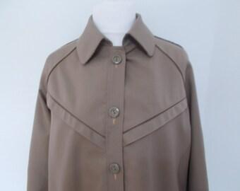 Vintage Raincoat macintosh 60s 70s Taupe cream rain coat size large XL