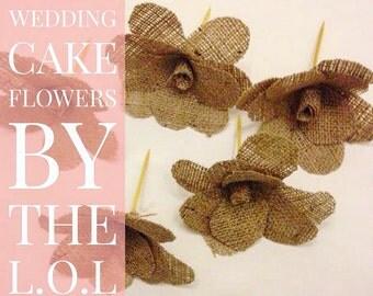 Burlap Wedding Cake Flowers, Rustic Weddings, Flowers, Decorations