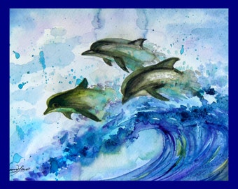 """Original Water Color Painting, 3 Dolphin , blue, green, 8""""x10"""",160450"""