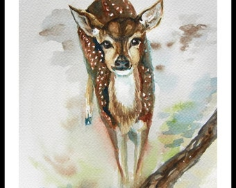 "Original Water color painting, Little Deer, With mat 10""x8"", 150228"