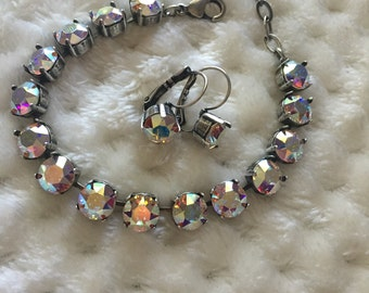 AB swarovski cup chain bracelet tennis style and earrings