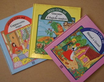 Vintage 1980's - Set of three italian children's books leggi con me - illustrated by Susie-Jane tanner