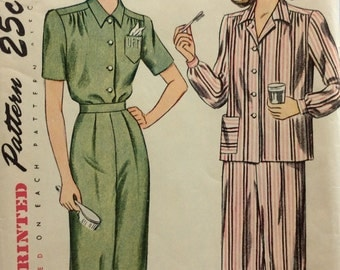 Simplicity 1999 misses two-piece pajamas size 14 bust 32 vintage 1940's sewing pattern Uncut  Factory folds
