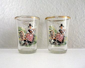 Vintage Colonial or Pilgrim Women Painted Shot Glasses