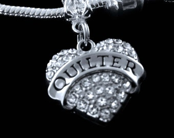 Quilter charm fits all the big name european style bracelets crystal heart style charm