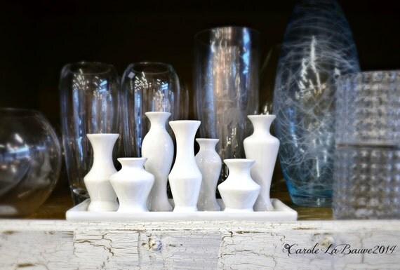 STILL LIFE ~ White ceramic Glassware and Vases ~ Clear glass Vases ~ Original Fine Art Photography