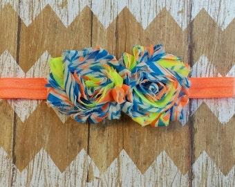 Neon baby headband,  Neon orange blue yellow headband, Neon flower headband, Neon orange headband, Neon swirl flower headband, baby headband