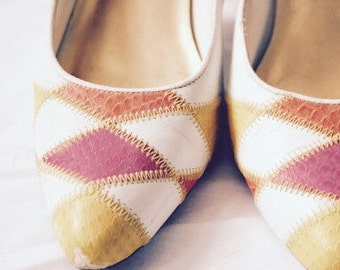 VINTAGE HIGH Heels Cream, Pink, Yellow and Orange - by Cara Leigh HARLEQUIN High Heeled Pump Stiletto Shoes - uk Size 6
