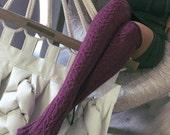 Wool Knee high Knit Socks Wool socks FREE SHIPPING Hand made socks Cable Knee high Socks wool socks Warm winter socks