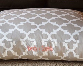 Ecru Dog Bed || Extra Large Tan Quatrefoil Custom Pillow Cover || Add Pets Name || Personalized Puppy Gift by Three Spoiled Dogs