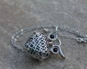 45% Off White Owl Diffuser Necklace Essential Oil Aroma - Owl Locket - Scent Necklace - Aromatherapy Jewelry -Owl Pendant - Owl Jewelry