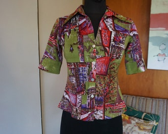 Women's 1970's Novelty Print Button Up European Eiffel Tower Vacation Top Poly Size S
