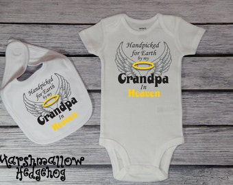Handpicked For Earth By My Grandpa In Heaven Bodysuit; Hand Picked for Earth Bodysuit; Toddler Tee; Youth T-Shirt;  *THP002