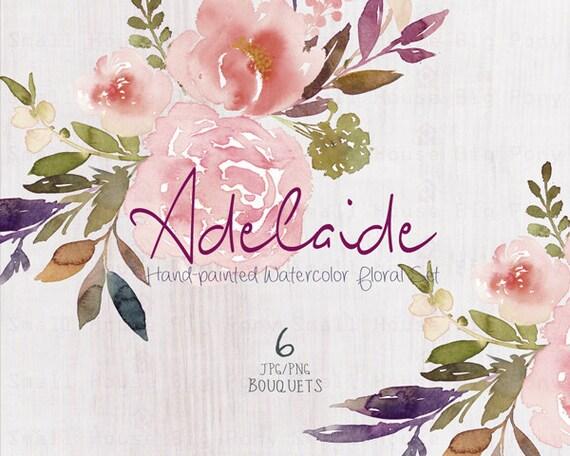 Digital Clipart- Watercolor Flower Clipart, peonies Clip art, Floral Bouquet Clipart, wedding flowers clip art- Adelaide Bouquets