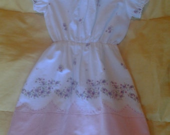 Vintage pillowcase dress in pink and white 9-12 months