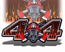 """4x4 Offroad Truck Bed Flame Decals IAFF Firefighters (set of 2)- 13"""" wide each  Chevy Silverado GMC Sierra Dodge Ford Stickers 4x4 MK010OR4"""