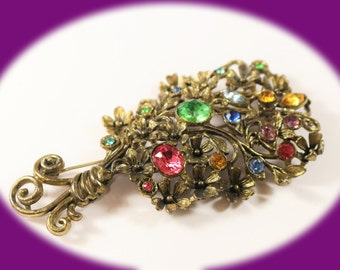 Vintage Rhinestone Brooch Beautiful Old Rhinestone Pot Metal Floral Brooch   Vintage Jewelry