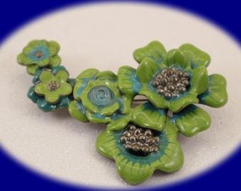 Vintage Enameled  Pot Metal Brooch Flower Brooch Vintage Jewelry Vintage Brooch