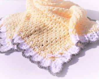 Yellow Baby Blanket, Crochet Baby Blanket, Granny Square, Crochet Afghan, Yellow Grey Blanket,  Handmade Blanket, Crochet Blanket, Blanket