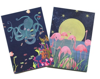Flamingo and Octopus Notebook Set, Illustrated by Hutch Cassidy