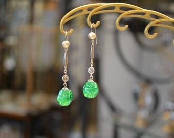 Earrings green dangle vintage antique earrings.