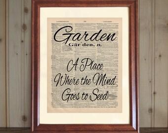 Garden Dictionary Print, Garden Quote, Dictionary Wall Art, Funny Garden Saying, Gift for Gardener, Garden Print on 5x7 or 8x10 canvas panel