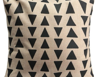 Black Triangles Geo Cushion Cover.