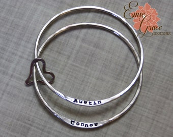 Sterling Silver Bangles with Heart, Mothers Names Bracelet, Set of Two, Grandma's Bracelet, Hand Stamped Names, Personalized