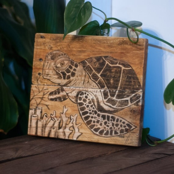 Sea Turtle Art Sea Turtle Decor Rustic Beach Decor Coastal