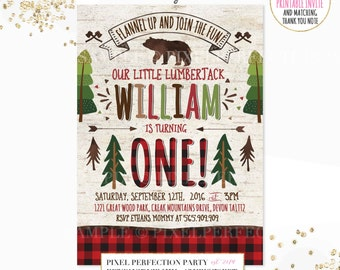 Lumberjack Birthday Invitation Lumberjack 1st Birthday Invitation Lumberjack Red Buffalo Plaid Birthday Invitation Lumberjack Bear Party