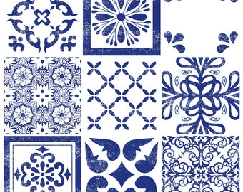Tile Decals - Tiles for Kitchen/Bathroom Back splash - Floor decals -Indigo Mexican Mix Vinyl Tile Sticker 36 Pack