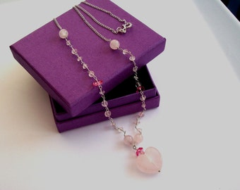 Rose Quartz Heart Necklace Sterling Silver, Gift For Her Gemstone Necklace