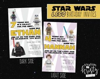 Star Wars Lego themed birthday party photo invitation, digital, printable file