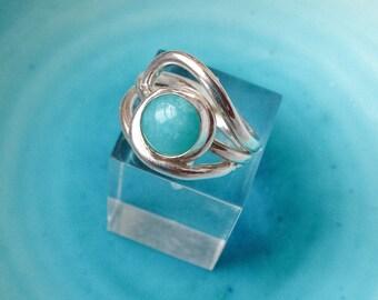 Amazonite Wave Ring, Amazonite Ring, Size K, Turquoise colour ring, Amazonite, Chunky Silver Ring, Mary Colyer