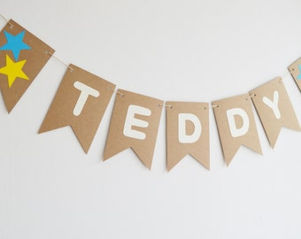 Custom Name Bunting, First Birthday Boy, Birthday Banner, Personalised Birthday, Nursery Decoration, Blue Stars