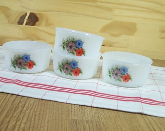 Set of  4 ramekins ARCOPAL France petunia pattern |   3.25 inches  | Kitchen French vintage 1970