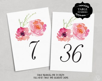 Wedding Table Numbers 1–40, Floral Wedding Table Numbers Template (Flat) - DOWNLOAD Instantly, 5x7 and 4x6, TN_PinkPeonies