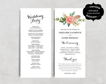 Printable Wedding Program Template, Floral Wedding Program, Boho Wedding Program, DIY Wedding Programs, Tea Length, Blush Peony, VW12