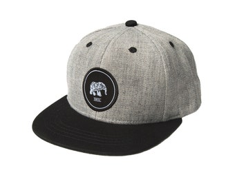 Black Brim Wool-Blend Elephant Baby Snapback baseball hat with brim, baby, toddler, and children by Jack and Winn