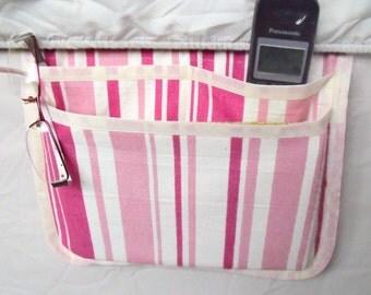 bed pocket, bed caddy, storage organizer, bed tidy, pink bed organizer, bed storage, pink striped fabric