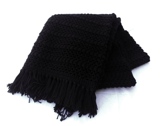 Ready to Ship**Free Shipping**/Crochet Blanket/Black Blanket Throw/Knit knitted Afghan Blanket Throw/Black Sofa Blanket/Black Couch Throw