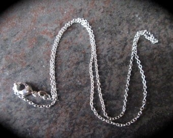 "16"" Sterling Silver thin Rolo Chain with Lobster Claw Clasp Stamped 925 perfect for jewelry making or pendants"